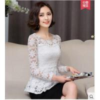 唯美蕾丝花朵收腰长袖韩版时尚打底衫修身显瘦上衣弹力蕾丝衫女小衫
