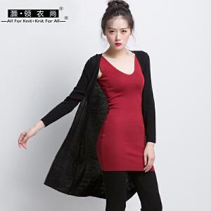 2018春季新品单排扣纯黑色针织衫外套修身长袖V领中长款开衫薄款外搭女
