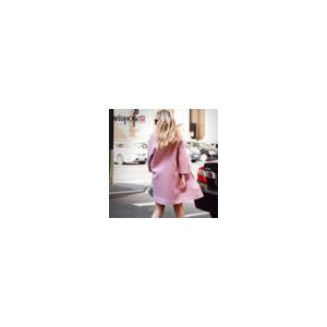 谜秀 2017秋装新款欧美貉皮加绒加厚中长款修身淑女毛呢大衣外套
