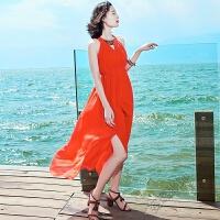 2018女装裙子长裙无袖雪纺连衣裙海边度假沙滩裙 串珠开叉裙