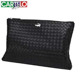 CARTELO/卡帝乐鳄鱼男士手包真皮男包头层牛皮手拿包编织潮信封包