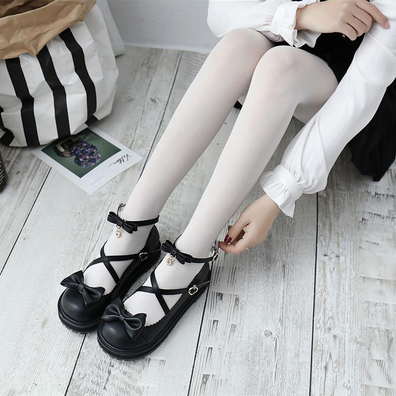 18日系厚底洛丽塔女鞋可爱圆头娃娃鞋学院风小皮鞋平底软妹少女鞋