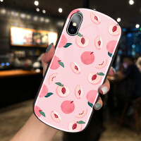 iPhone8plus苹果x手机壳椭圆形玻璃XSMAX弧形XR个性创意7plus小清新XS网红女款6
