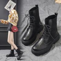 2019新款靴子秋季韩版粗跟低跟马丁靴女时尚中筒靴短靴女春秋单靴 黑色