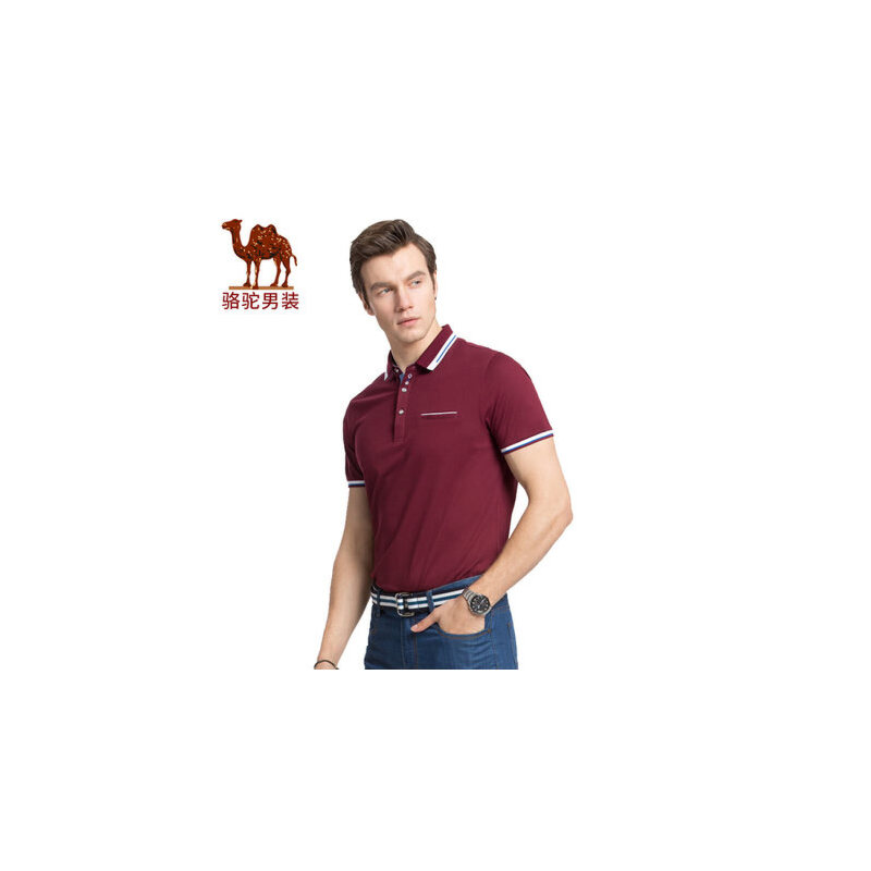 骆驼男装 夏季新款时尚纯色翻领商务休闲纯棉短袖T恤衫男上衣