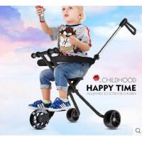 加大加宽轮闪光溜溜车简易轻便折叠宝宝推车遛娃车儿童三轮手推车