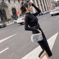 2018秋冬新款女装中长款针织连衣裙修身过膝一步打底毛衣裙包臂裙 黑色 均码建议体重80-125斤