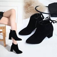 SW中跟磨砂短靴女秋冬季2019新款踝靴马丁靴女英伦风粗跟高跟女靴