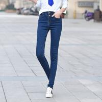 【支持礼品卡支付】春季新款高腰弹力显瘦黑色牛仔裤女小脚裤铅笔裤双排扣 17YK1910