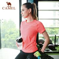 CAMEL 骆驼运动T恤 女圆领透气纯色运动瑜伽功能短袖T恤