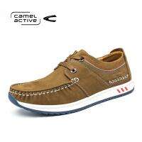 Camel Active/骆驼动感圆头磨砂皮头层系带真皮板鞋男休闲潮鞋子