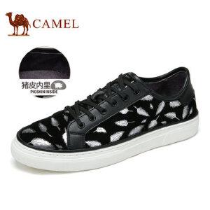 camel 骆驼男鞋秋季潮流时尚轻质滑板鞋羊皮板鞋系带鞋子