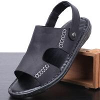 男士凉鞋两用真皮休闲露趾沙滩鞋男皮凉拖鞋牛筋软底透气耐磨