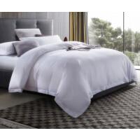 五星级酒店布草宾馆床上用品纯白全棉60支喷气贡缎床单 四件套
