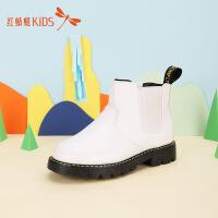 【1件2折后:35.8元】红蜻蜓纯色百搭套脚低跟舒适新款时尚女童中大童儿童短靴皮靴