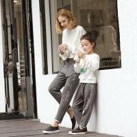AMII童装女童2018春秋新款亲子装儿童休闲裤韩版时尚哈伦裤母女装
