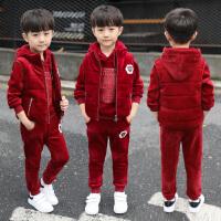 男童冬装套装中大童儿童装男孩秋冬金丝绒三件套