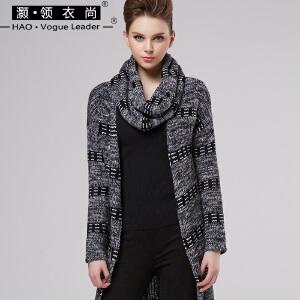 秋冬过膝大衣羊毛针织长开衫女毛衣长袖羊毛帽厚围脖女围巾三件套