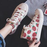 草莓帆布鞋女学生低帮春季新品小白鞋女韩版平底板鞋潮高帮休闲女鞋子