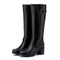 买一song一DR2019新款女皮靴百搭加绒高跟粗跟侧拉链高筒长靴