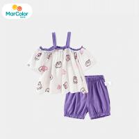 【1件2折】马卡乐童装22夏新款宝宝套装可爱宽松女童T恤灯笼短裤两件套