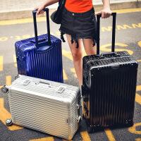 2018新款全铝镁合金拉杆箱女万向轮22寸金属商务行李箱24寸26寸全铝旅行箱 钻石款全铝 银色