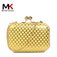 莫尔克(MERKEL)新款时尚波点晚会晚装时装晚宴包女单肩斜跨链条女包夹子包