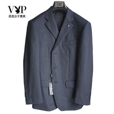 花花公子贵宾西服男士经典条纹大码西装上衣外套中老年西装