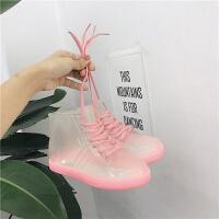 韩版学生时尚百搭透明短筒雨鞋女户外果冻胶鞋系带雨靴水鞋潮