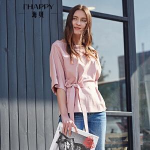 海贝2017年秋季新款女装 一字圆领纯色系带中袖小衫