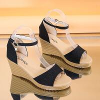 仙女搭配裙子穿的鞋子夏天新款学生百搭超火性感一字扣坡跟凉鞋女夏季百搭鞋
