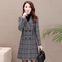 玫兰妮中长款毛呢外套女韩版2018新款秋冬季流行西装领格子呢大衣