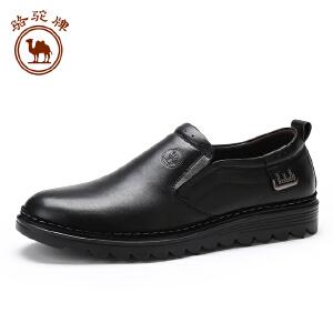 骆驼牌休闲男士皮鞋 时尚休闲套脚男皮鞋舒适耐磨低帮男鞋