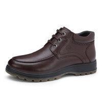 骆驼牌男靴子 冬季新品保暖绒里高帮男鞋真皮厚底牛皮男靴子