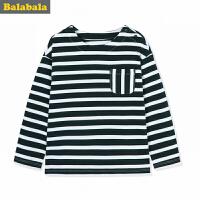 巴拉巴拉童装男童T恤小童宝宝儿童长袖秋装2017新款圆领条纹衫