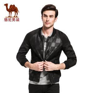 骆驼&熊猫联名系列男装棒球领加厚男士夹克格子jacket潮男茄克衫