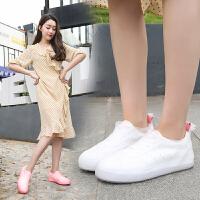 韩版时尚防水鞋套短筒可爱雨鞋套女防滑加厚耐磨防雨透明鞋套