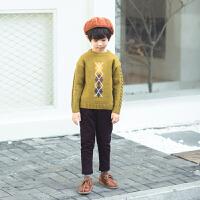 儿童圆领套头毛衣男童英伦风绣花针织毛衣