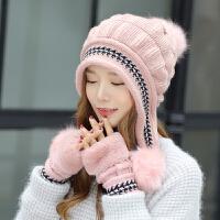 帽子女冬天毛线帽护耳包头帽甜美可爱针织帽冬季保暖