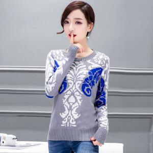 �莱2017春装新款韩版时尚女装图腾提花休闲短款针织衫打底衫毛衣