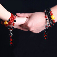 原创个性水晶情侣手链 红玛瑙毛衣链本命年手串 潮流108颗多层男士手链 饰品