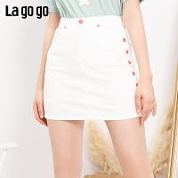 【新品5折价125】Lagogo2019夏季新款白色高腰a字裙短款包臀牛仔半裙女IABB134C61