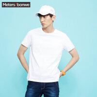 美特斯邦威 t恤男白色短袖男新款夏季纯白纯色圆领纯棉体恤潮t