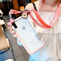 散热苹果x手机壳iPhone8硅胶边框6s防摔女款潮7plus可以背的XsMax 6/6S 米妮和蝴蝶结+挂绳