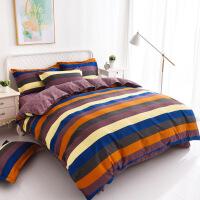 全棉床上四件套全棉纯棉1.82.0米简约床单被套网红款床上用品 1.5米床 适合150X200cm被子