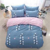 简约全棉磨毛四件套床上用品纯棉床单被套1.8米4件套