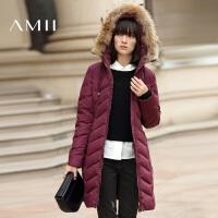 【1件7折/2件5折 再用券】AMII冬装新款时尚连帽大毛领中长款修身羽绒服女装