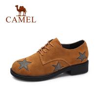 camel/骆驼女鞋 秋季新款 时尚星饰英伦风单鞋女舒适粗跟磨砂皮女鞋
