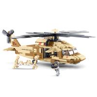 小鲁班拼装积木 仿真军事黑鹰直升机6岁儿童玩具男孩智力积木玩具
