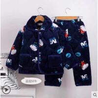 冬季夹棉加厚款宝宝大童女童睡衣珊瑚绒男童家居服儿童法兰绒睡衣